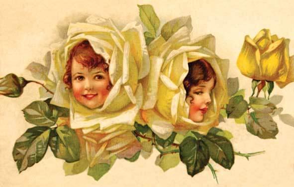 Vaikai ir gėlės, senovinis atvirukas