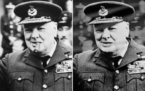 """Winston Churchill: kairėje originali nuotrauka, o dešinėje - politkorektorių išcenzūruota. Būtų gal ir neišskirtinis atvejis, bet kad šita išcenzūruota nuotrauka buvo iškabinta ant """"Britain at War"""" muziejaus. Kažkokiam politkorekciniam veikėjui pasirodė, kad negalima gi rodyti rūkalų, nes tai kažkam netinka."""